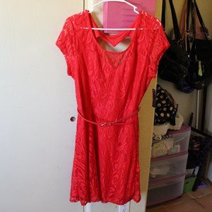 NO BOUNDARIES RED LACE HEART DRESS